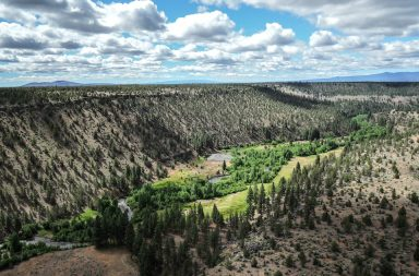 Aerial views of canyon and Whychus Creek at Rimrock Ranch.