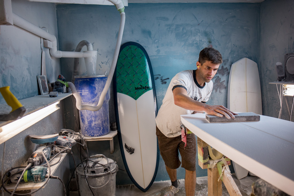 my workspace, blackfern surfboards, micheal hall, bruce ely