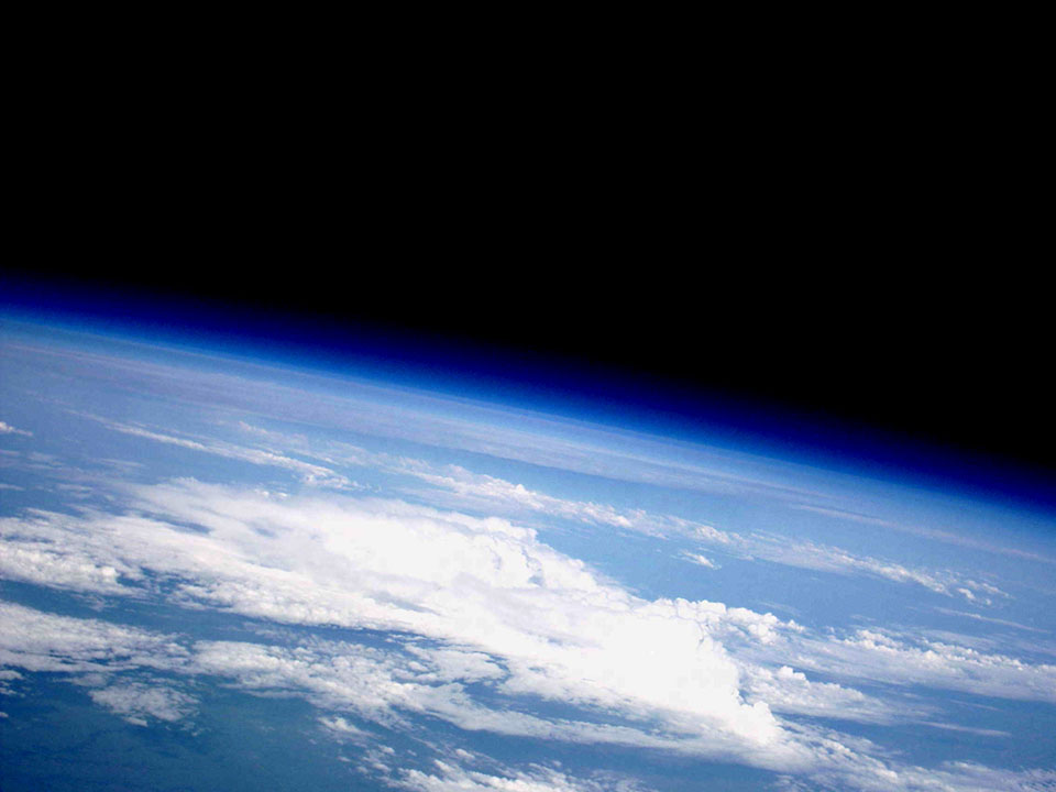 This is what it looks like in near space. Some people have mistaken pictures like this for one taken by astronauts on the International Space Station.